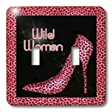 3dRose LLC lsp_21801_2 Pink Cheetah Print Wild Woman Stiletto Pump and Bling Double Toggle Switch
