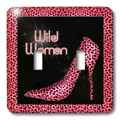 3dRose lsp/_21807/_1 Purple Cheetah Print Wild Woman Stiletto Pump And Bling Single Toggle Switch