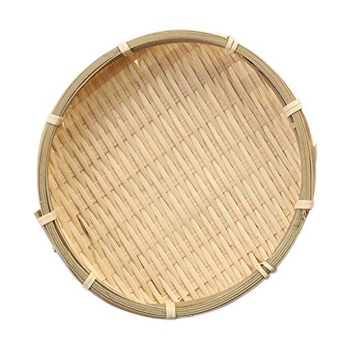 (Fityle Bamboo Sieve Great as Fruit, Vegetable, Bread Basket Multifunctional - Wooden color, 16×2cm)
