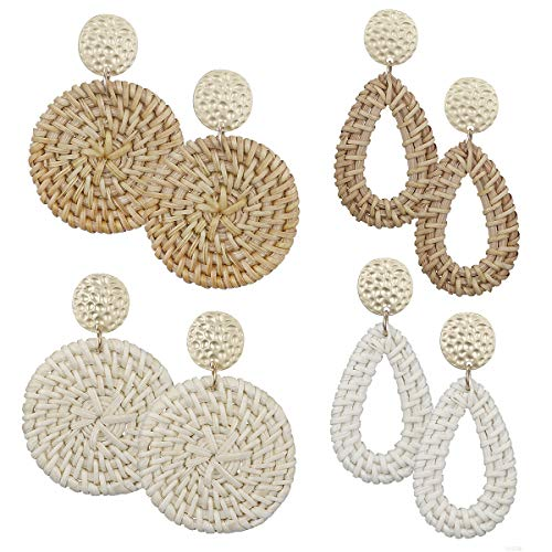 AIDSOTOU Rattan Stud Earrings for Women Lightweight Geometric Statement Earrings Handmade Straw Wicker Braid Teardrop Hoop Drop Dangle Earrings 4 Pairs (B:4pc-Rhombus)