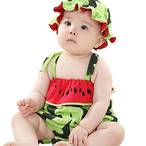 [Voberry® Newborn Baby Lovely Watermelon Modeling Coveralls Climb Clothes Hat (56)] (Watermelon Toddler Costume)