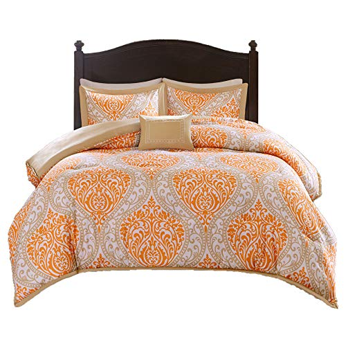 Comfort Spaces - Coco Comforter Set - 4 Piece - Orange and Taupe - Printed Damask Pattern - Full/Queen Size, includes 1 Comforter, 2 Shams, 1 Decorative Pillow Black Friday & Cyber Monday 2018