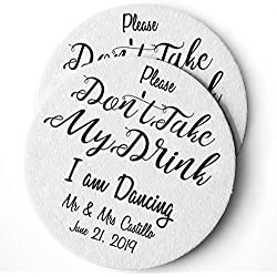 Personalized Wedding Drink Coasters Set of 25 – Custom Wedding Favors – Absorbent – Monogram