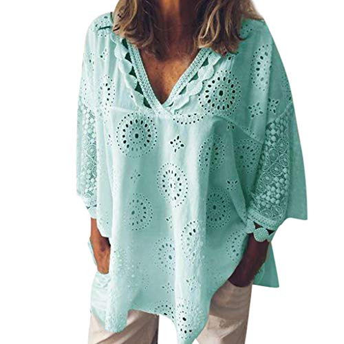 MOSERIAN Womens T-Shirt Womens Half Sleeve Cotton Linen Hollow Out Lace Patchwork T-Shirt Blouse Tops Green