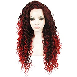 Ebingoo Red Mix Black Long Curly Free Part Synthetic Lace Front Wig