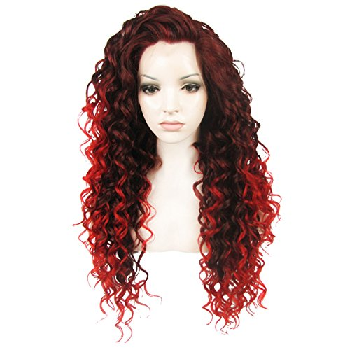 Ebingoo Red Mix Black Long Curly Free Part Synthetic Lace Front Wig (Wigs Black Front Lace)
