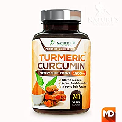 Turmeric Curcumin Max Potency 95% Curcuminoids 1950mg with Bioperine Black Pepper for Best Absorption, Anti-Inflammatory Joint Pain Relief, Turmeric Supplement Pills by Natures Nutrition