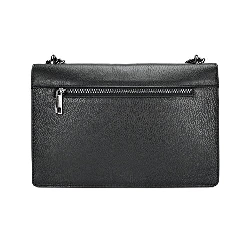 E Media Catena Spalla Accessori Martellata Rachel Tracolla Metallo In A Pochette myitalianbag Borsa Pebble Nero Pelle wn1q6W8T