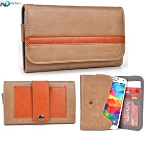 HTC Desire 400 Dual Sim Phone Wallet with Belt Attachment {Brown and Caramel} with Credit Card Holder