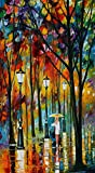 100% Hand Painted Oil Paintings Modern Abstract Oil Painting on Canvas Girl Walking in the Rain (vertical) Home Wall Decor (20X36 Inch, Oil Painting 7)