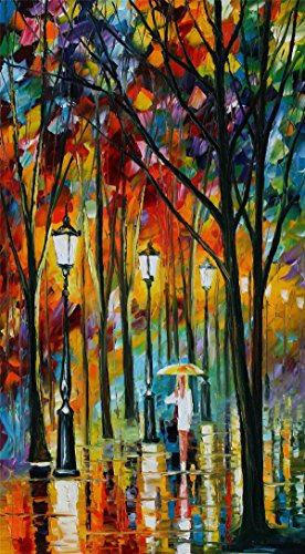100% Hand Painted Oil Paintings Modern Abstract Oil Painting on Canvas Girl Walking in the Rain (vertical) Home Wall Decor (24X44 Inch, Oil Painting 7) by Bingo Arts