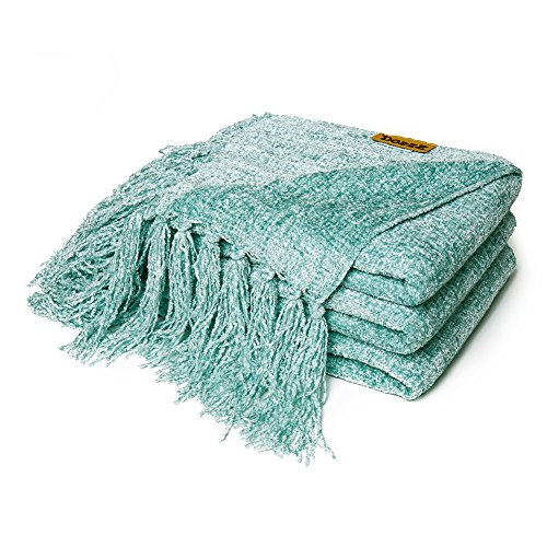 Decorative Chenille Thick Couch Throw Blanket with Fringe (AQUA) - Large 60 x 50 Inches Soft Cloth Cover, Keeps You Feel Warm & Comfy in any Season - Great for Couch, Sofa&Bed Furniture at Home (Teal Red Christmas And)