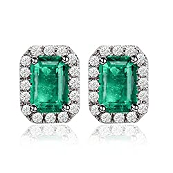 Diamond Studded Rose White Gold Emerald Earrings
