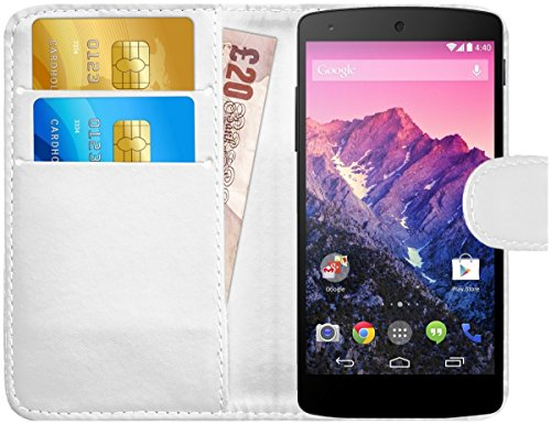 [해외]G 쉴드 케이스 LG 구글 넥서스 5 가죽 지갑 커버 카드 슬롯 화이트 / G-Shield Case for LG Google Nexus 5 Leather Wallet Cover with Card Slots White
