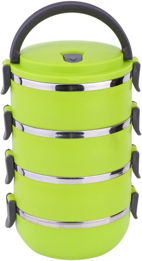 Yosoo portable insulated stainless steel lunch box 4 Layer Green thermal and leak-proof with handle