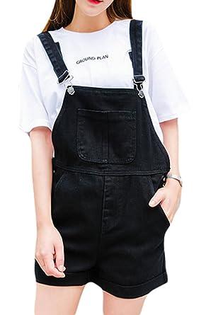 Amazon.com: Women\'s Plus Size Loose Denim Distressed Front Bib Short ...