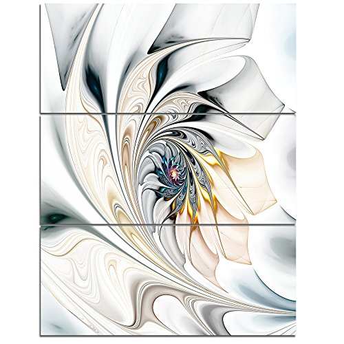 Design Art PT10276-3PV White Stained Glass Floral Art - Large Floral Wall Art Canvas - 28X36 3Piece,White,28X36 3Piece by Design Art