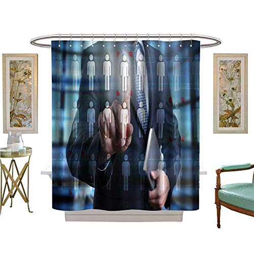 luvoluxhome Shower Curtain Customized Man us Computer Press Human icon on Virtual Screen Human Resource Team Bathroom Decor Set with Hooks W72 x L96