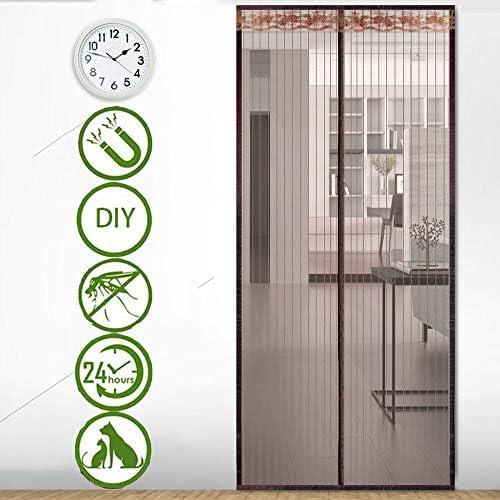 マグネットフライスクリーンドアヘビーデューティーバグメッシュ強力なマグネットとフルフレームのシンプルなストライプカーテンマジックテープ昆虫保護ドア隙間なしバグを防ぐ新鮮な空気を茶色にしましょう