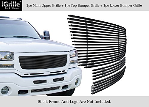 Gmc Classic Billet Grille - APS Compatible with 2003-2006 GMC Sierra 1500 2500HD 3500 Stainless Black Billet Grille Combo N19-J87978G