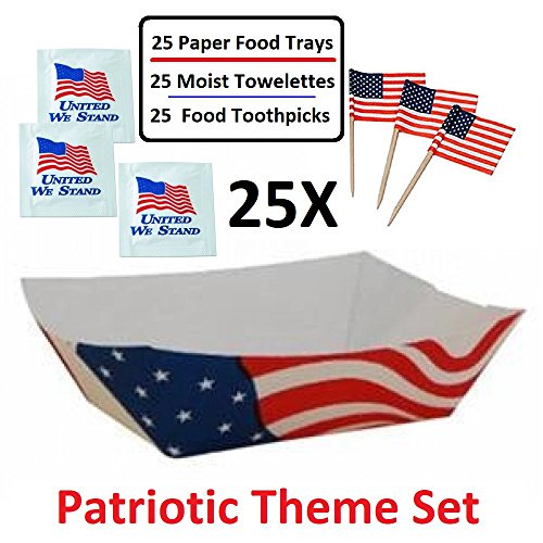 2 LB USA Flag Paper Food Trays, Take Out Food Boat Basket Holder Containers - Value Pack of 25 Trays, 25 United We Stand Moist Towelettes and 25 American Flag Toothpicks - Patriotic Theme Set (Holder Patriotic)