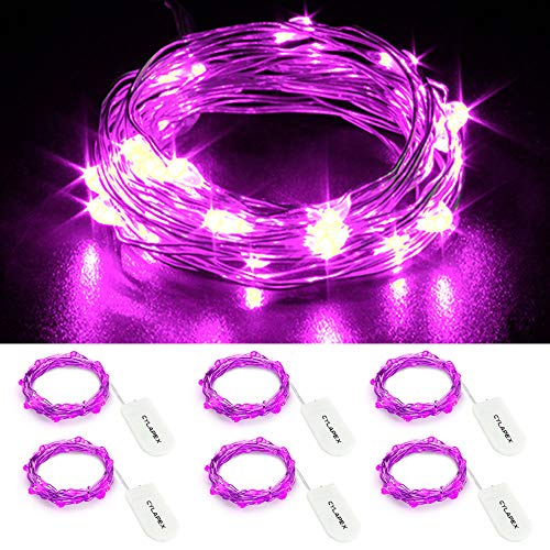 CYLAPEX 6 Pack Purple Fairy Lights Battery Operated String Lights Firefly Lights Micro Moon LED Starry String Lights on 3.3ft/1m Silvery Copper Wire for DIY Christmas Decoration Costume Wedding Party -