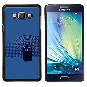 KLONGSHOP // Cubierta de piel con cierre a presión Shell trasero duro de goma Protección Caso - Policía Cabina Azul - Samsung Galaxy A7 A7000 //