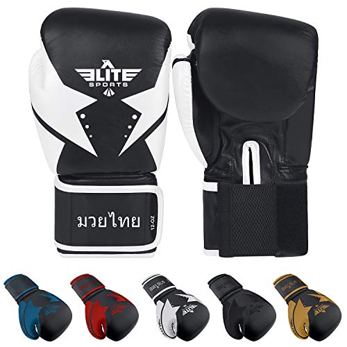 Elite Sports Muay Thai Star Gloves (White, 16 oz)