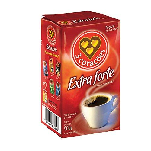 3 Corazones Extra Forte Brazilian Ground Coffee Vacuum Packed 500g
