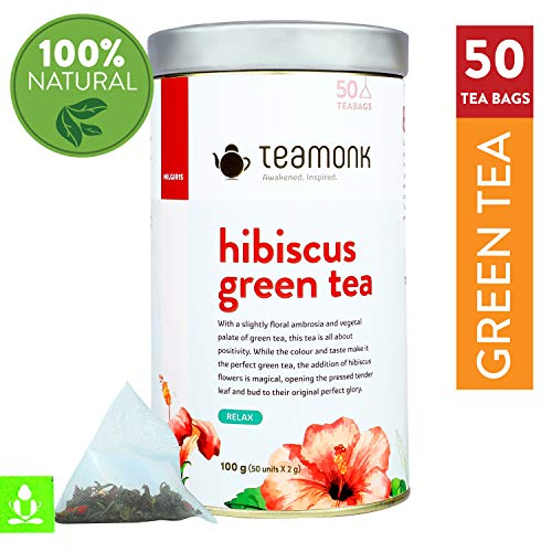 Teamonk Nilgiris Hibiscus Green Tea, 50 Pyramid Teabags | Fruit Tea for Relaxation ()