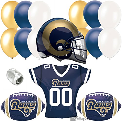 6b2dd1113 Los Angeles Rams Football Super Bowl Party Helmet Jersey 17pc Balloon Pack