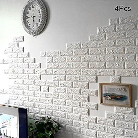 Jeda, carta da parati in 3D, mattoni in rilievo su sfondo bianco ...