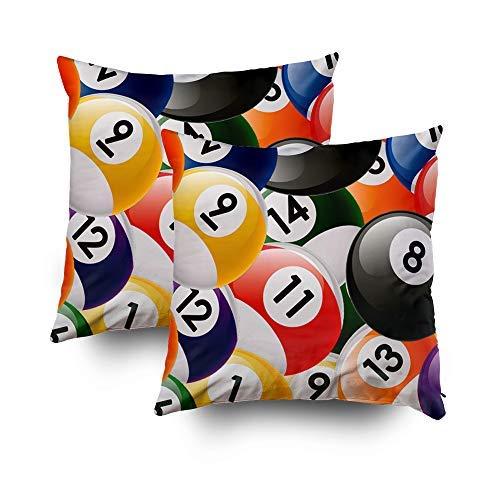 - MurielJerome Pillowcase Halloween Billiard Balls Collage 18X18 Inch 2 Set, Decorative Throw Custom Pillow Case Cushion Cover Gift Home Decor