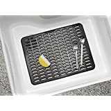 mDesign Kitchen Sink Protector Mat - Large, Black