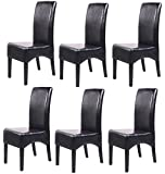 Lot de 6 chaises de salle à manger,fauteuil inclinable Latina en cuir, coloris noir -PEGANE-