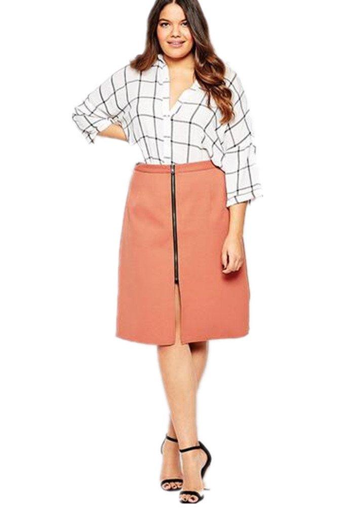 Enlishop Women's Fit Plus Size Zipper High Waist Workwear Pencil Midi Skirt Pink