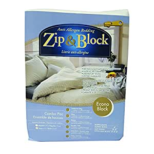 Zip and Block, Econo Block, Anti Allergen Bed Bug Proof Breathable Waterproof Combo Pack- Mattress and Pillow Encasing, White, Twin