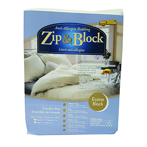 Zippered Mattress Encasing - Zip and Block, Econo Block, Anti Allergen Bed Bug Proof Breathable Waterproof Combo Pack- Mattress and Pillow Encasing, White, Twin