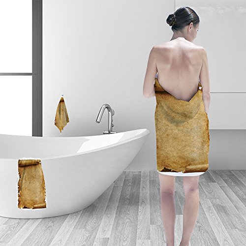 Nalahomeqq Bath towel set Old paper scroll isolated on white 3D Digital Printing No Chemical OdorEco-Friendly Non Toxic13.8 x 13.8-11.8