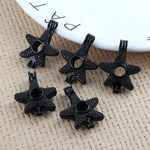 5pcs Pearl Beads Cage Black Starfish Locket Pendant Essential Oil Diffuser 24MM
