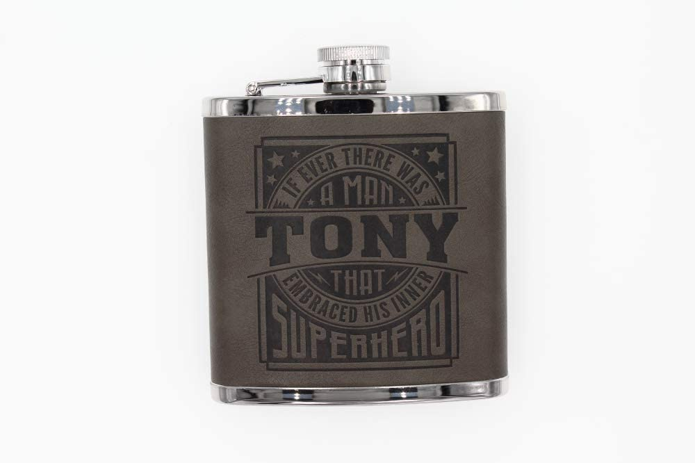 Top Bloke Mens Gift Hip Flask for Him Treat forTony