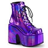 Demonia Women's CAMEL-203 Ankle Boot, Purple Hologram Vegan Leather, 9 M US