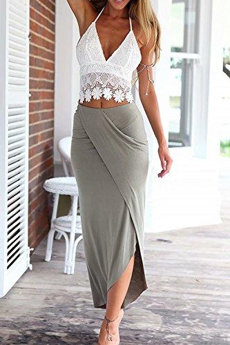 jasit Skirt Set, Women Summer Two Pieces V Neck Backless Lace Tops+Irregular Long Skirt S by jasit (Image #1)