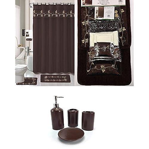 22 Piece Bath Accessory Set Chocolate Brown Bathroom Rug Set + Shower  Curtain U0026 Accessories