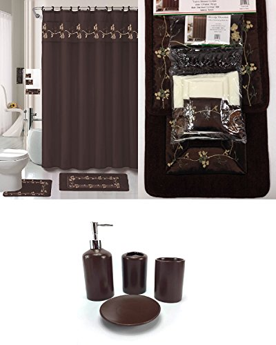 22 Piece Bath Accessory Set Chocolate Brown Bathroom Rug Set + Shower Curtain & Accessories ()