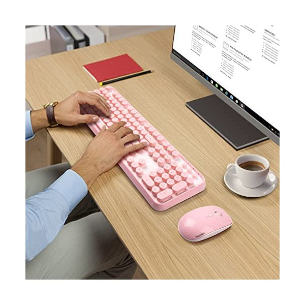 Wireless Keyboard Mouse Combo24ghz Waterproof Pink Wireless Keyboard With 108 Round Keycaps And Wireless Gaming Mouse With 3 Adjustable Dpi Cute Wireless Mouse For Pc Computer Laptop Note