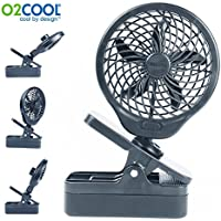 O2COOL 5 Battery Operated Clip Fan Grey