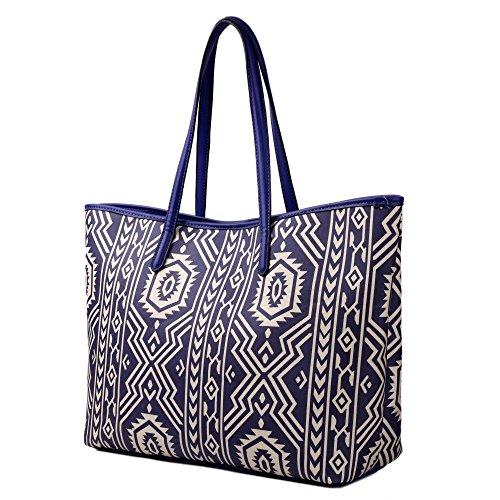 Miss Lulu Bolso Hombro Bolsa plus beau Perry bolsa de lona Oilcloth Aztec Tote Blue
