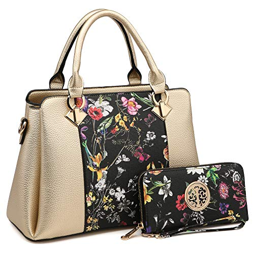 3 Compartments Handbags for Women Medium Shoulder Bags Tote Purse Top Handle Satchel with Matching Wallet (Gold/Black Flower)