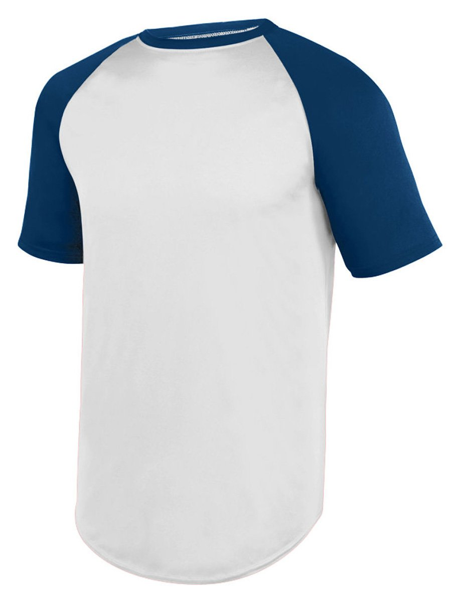 Augusta SportswearメンズWicking半袖野球ジャージー B01MF6Z54P Small|ホワイト/ネイビー ホワイト/ネイビー Small